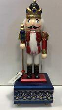 Natale Red KING Carillon SOLDATO legno schiaccianoci musicale con Ornamento Baton