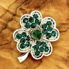 W Swarovski Crystal Shamrock Clover Green Lucky Leaf Brooch Pin Jewelry