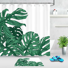 Exotic Tropical Jungle Plants Green Monstera Shower Curtain Waterproof Fabric