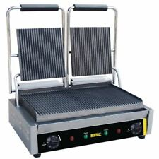 Buffalo Bistro Contact Grill Double Ribbed Silver Stainless Steel Cast Iron