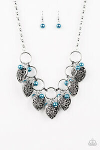 Very Valentine - Blue Pearl Heart Charm Necklace Earring Set Paparazzi Jewelry