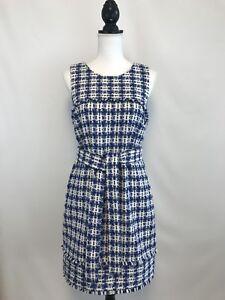 NEW J.Crew Belted Dress Tweed Size 6 White Blue Multi Sample Item Rare!