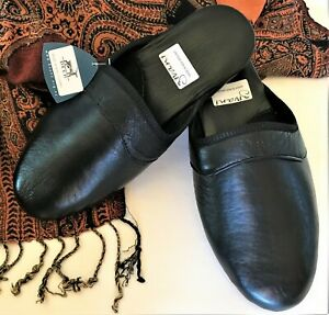GIVANI (NZ) Black Deer Leather Lounge Slippers NWT Size 8/40 Wide Fit RRP$160