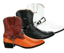 Mens Rossellini Gents Snake Skin Full Zip Western Cowboy Ankle Boots Gangster
