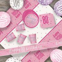 Pink Glitz 80th Birthday Party Supplies Decorations (Confetti Strings Napkins)