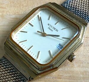 Vintage Bulova Accutron Swiss 7249 Men Gold Tone Quartz Watch Hour~Date~New Batt