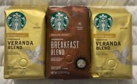 2 Starbucks Veranda Blend & 1 Breakfast Blend 12 oz Each Sealed Bags Fast Ship