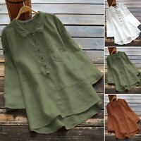 ZANZEA Women Collared Shirt 3/4 Sleeve Cotton Tee Top Basic Plain Ladies Blouse