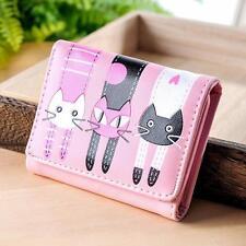 Women Cartoon Cat Pattern Kitten Coin Purse Zip Card Holders Handbag Long Wallet