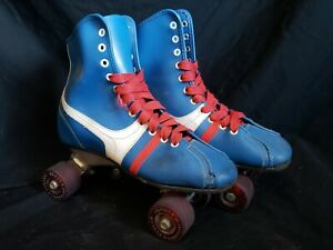 Roller Derby Quad Roller Skates Blue Red Laces Vintage Mens 6 Pre Owned