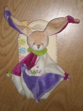 Doudou Peluche Baby'nat plat lapin rabbit bunny lièvre blanc violet noeud neuf