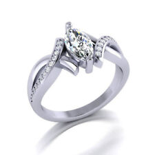 Certified 2.90Ct White Marquise Cut Diamond Engagement Ring 14K White Gold