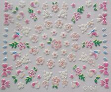 Accessoire ongles nail art -Stickers autocollants- fleurs et noeuds multicolores