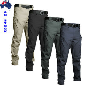 AU Tactical Combat Waterproof Pants Men Work Cargo Trousers Outdoor Hiking Pant