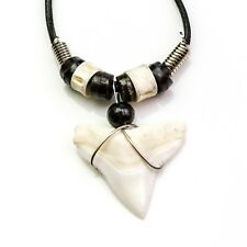 LARGE 25-28mm BULL SHARK TOOTH BLACK LEATHER CORD NECKLACE BACK BONE BEAD c180