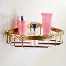 Antique Brass Bathroom Shower Corner Shelf Wall Mounted Storage Triangle Basket