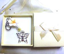 Bag Charm Frangipani/Leelawadee Flower / Glass Pearls & Large Butterfly Charm