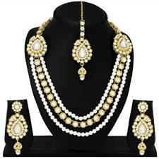 Indian Traditional Ethnic Gold Plated Necklace Earrings Wedding Jewelry Pearl