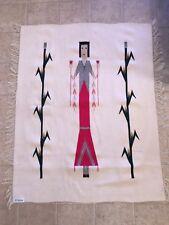 ORTEGA'S CHIMAYO NEW MEXICO 48x36 100% Wool Hand Woven Rug Harvest Girl Corn USA