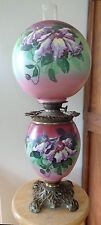 1900S PITTSBURG GWTW Parlor BANQUET OIL LAMP HP CLEMATIS Florals Converted