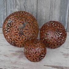 3er Set Gartenkugeln Metallkugel Kugel Rost Braun wie Edelrost Blume 10-18cm
