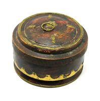 Indian Vintage Beautiful Round Wood Trinket / Jewelry Box Collectible i71-272 US