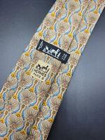 Hermes Paris Made In France Brown Animal Pattern Silk Tie 7755 FA