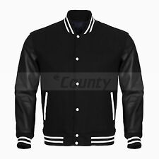 College Baseball Varsity Jacket Black Wool Body & Black Faux Leather Sleeves