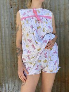 Vintage 1940s Kitten Puppy & Mouse Print Playsuit Outfit Dress & Shorts Cotton