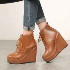 Women's Korean Autumn Winter Stylish Platform Wedge Heel Lace Up Ankle Boots @BT