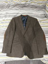 Designer Tweed Suit Jacket mens Tailored Suede Elbow 46R Offers Welcome Rrp £145