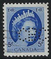 Perfin C6-CBC (Canadian Broadcasting Corp) Scott 341, 5c QEII Wilding Position 1