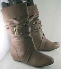 "NEW LADIES Tan 1.5""Low Hidden Wedge Heel Sexy Mid-Calf Boot Size 8.5"