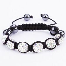 Iced Out Bracelet Unique Bling Disco AB Crystal 9 Ball Bead Cubic Zirconia CZ