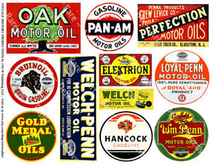 Oil Can & Gas Can Label Reproductions, Garage & Automobile Art, 1 Sticker Sheet