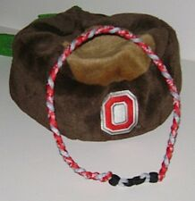 "Ohio State Buckeyes 3 Rope Titanium Sport Paracord Necklace- XL 22"" Red & Gray!"