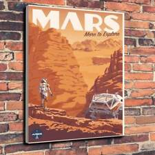 """Mars Travel Poster Printed Box Canvas Picture A1.30""""x20"""" 30mm Deep Space Travel"""