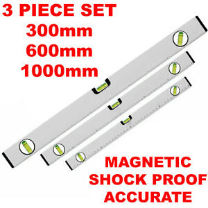 SILVER MAGNETIC 3 PIECE BUILDERS BUILDING SPIRIT LEVEL SET - 300, 600, 1000mm