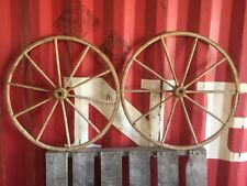 """Pair of Vintage Antique 30.5"""" Used Wooden Carriage Buggy Wagon Wheels 10 Spokes"""