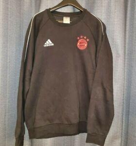 BAYERN MUNICH Adidas Black Sweatshirt Sweater Training Jumper Nt Shirt Jersey M