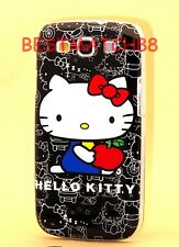 FOR SAMSUNG GALAXY S3 PHNE BLACK &/ WHTE RED HARD CASE cute hello kitty kitten /