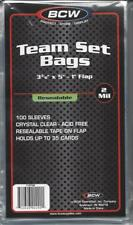 "100 BCW TEAM SET POLY BAGS (3 3/8"" x 5"" + 1"" LIP) - TRADING CARD, ARCHIVAL - NEW"