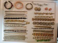 Vintage Mod Rhinestone Bracelet LOT Wear Repair+ Sterling Lisner 925 Trifari+