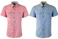 Mens Short Sleeve Double Breasted Pocket Smart Casual Tailored Shirt Top 464