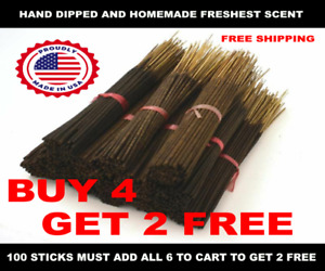 INCENSE STICKS HAND DIPPED  HEAVILY SCENTED - Wholesale -100 Bundle Essential