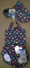 BNWT Jojo Maman Bebe girl 6-12 months bubble swimming costume hat navy floral