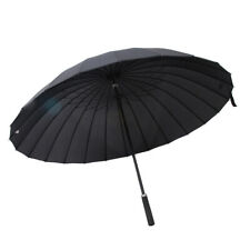 Super Windproof Men Womens Extra Large Solid Umbrella w/ 24 Steel Ribs Black