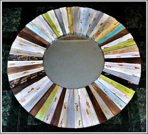 Vintage Round Wooden Mirror, Multi-Color French Finished, Modern Style 32 inches