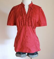 ELLE Ruffle V Neck Mandarin Collar Empire Waist Button Down Shirt Top Blouse L