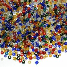 SBL199 Assorted Mix Color & Size 9/0 2mm & 6/0 4mm Rondelle Glass Seed Bead 4oz
